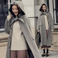 千鸟格呢子大衣女中长款韩版2018春装新款韩国学生过膝毛呢外套潮