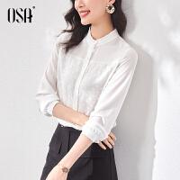 【3折折后价:111元 叠券更优惠】OSA欧莎立领白色衬衫女设计感法式职业衬衣春款2021新款时尚别致上衣