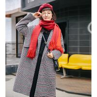 复古格子毛呢大衣女韩版中长款千鸟格呢 黑白格子(加棉) 加棉款
