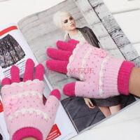 女士两用手套加厚保暖针织毛线时尚韩版两用学生针织冬季骑车触屏手套颜色随机