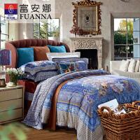 富安娜长绒棉1.5m单双人床单被罩1.8m床上用品四件套朵拉商场同款