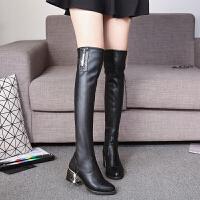2018新款过膝长靴弹力靴女鞋中跟显瘦长筒靴粗跟高筒欧美女靴 黑色 内里加绒