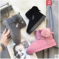 毛球雪地靴女冬季新款韩版短筒可爱百搭加绒短靴面包棉鞋女鞋
