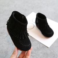 女童短靴2018冬季新款流苏靴子韩版公主鞋1-2-3岁宝宝鞋保暖棉鞋