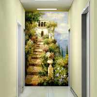 3d立体欧式艺术玄关墙纸壁画客厅走廊背景墙壁纸无缝墙布油画小路 墙纸+胶水