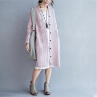 孕妇装春装2018新款韩版大码宽松休闲孕妇外套开衫中长款孕妇风衣 粉红色 均码