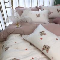 【官方旗舰店】简约60支双面兰精天丝四件套公主风春夏裸睡丝滑猫咪被套床上用品