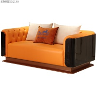 欧式沙发组合实木简约后现代大小户型客厅沙发爱马仕橙色沙发组合 其他