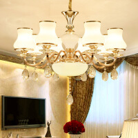 照明吊灯客厅灯双层欧式水晶全铜吊灯双层成吊顶灯LED客厅灯卧室灯具华艺