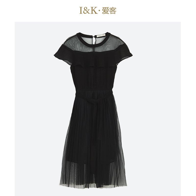 【3折到手价:99元】爱客2019夏季 赫本风黑色高腰显瘦短袖褶皱连衣裙女