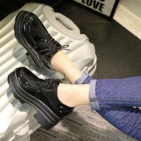 复古松糕鞋平底学生韩版高跟单鞋粗跟女鞋潮小皮鞋女