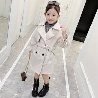 女童毛呢外套秋装韩版童装秋装新款中大儿童中长款呢子大衣外套