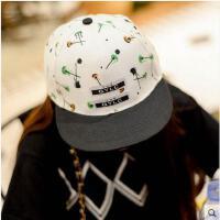 帽子 嘻哈帽 棒球帽 韩版潮帽子女情侣逛街嘻哈棒球帽男平沿檐帽鸭舌遮阳帽