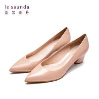 【顺丰包邮,大牌价:429】莱尔斯丹 新款尖头浅口羊皮革仙女高跟鞋粗跟女鞋单鞋53203
