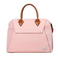 新款手提女包潮女手拎包公文包时尚手挽苹果笔记本电脑包百搭贝壳包 粉红色 (13.3英寸)