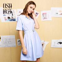 欧莎夏装女2017夏装新款女装 收腰大摆气质短袖连衣裙B13065