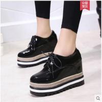 厚底内增高松糕单鞋女冬季新款单鞋高跟黑色加绒小皮鞋子女鞋