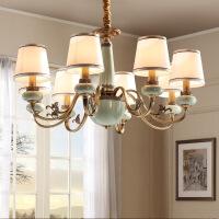 照明美式吊灯简欧全铜客厅灯具现代别墅欧式吊灯卧室餐厅纯铜陶瓷吊灯 D9999-15 定做 7-15天出货