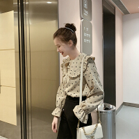 MG小象波点衬衫女2019新款娃娃领洋气衬衣休闲气质喇叭袖秋季上衣