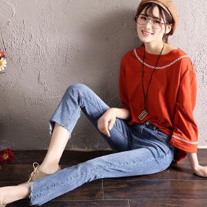 Freefeel 2018春夏季新款牛仔裤女韩版弹力显瘦九分裤直筒裤女裤oy3091