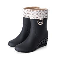 雨鞋女高跟 时尚式短筒水鞋雨靴胶鞋套鞋中筒水靴防滑防水坡跟雨鞋 黑色扣环加棉可拆 36
