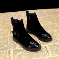 卡帝乐鳄鱼女靴短靴女2018秋冬新款韩版百搭粗跟骑士踝靴