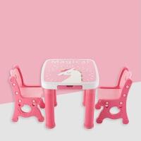 贝氏幼儿园学习桌椅套装 幼儿桌子组合儿童桌椅 塑料餐桌吃饭桌椅 粉色小马_1桌2椅