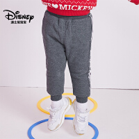 【到手价:76元】迪士尼宝宝童装迪斯尼男童针织运动夹棉长裤2018冬上新
