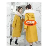面包服女中长款双面穿大毛领羽绒棉衣女韩版学生加厚冬装外套