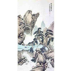中国美术家协会上海分会副主席、上海市文史馆馆员 吴湖帆《松荫观瀑图》(附拍卖出版物)DW236