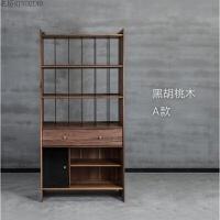 北欧实木书橱简约橡木置物柜日式黑胡桃餐边柜玻璃门组合书柜定制 0.8-1米宽