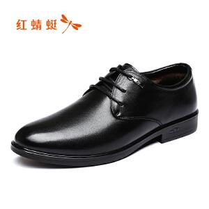 红蜻蜓男鞋2017冬季新品商务正装休闲皮鞋加绒保暖棉鞋低帮鞋正品