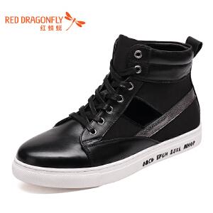 红蜻蜓男鞋真皮休闲英伦韩版青年尖头高帮皮鞋冬季新款系带保暖鞋