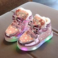 女童运动鞋小童鞋子儿童加绒宝宝鞋棉鞋韩版闪灯2017季新款潮鞋