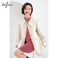 伊芙丽毛呢外套女2020冬韩版中长款大翻领贴袋单排扣羊毛大衣