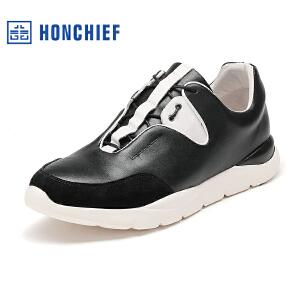 HONCHIEF 红蜻蜓旗下 秋冬新款运动皮鞋男休闲鞋舒适真皮圆头男鞋