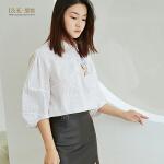 【3折到手价:60元】爱客五分袖条纹衬衫刺绣衬衫女YA1911C002