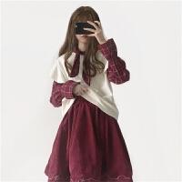 时尚套装女秋冬新款韩版拼接假两件上衣+灯芯绒半身裙两件套学生