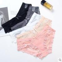 可爱韩版少女蕾丝性感网纱女式内裤冰丝无痕三角裤低腰薄款 3条装