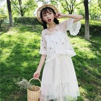 夏装新款女装韩版刺绣花朵网纱衬衣上衣+蕾丝拼接吊带连衣裙套装 均码