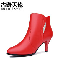 古奇天伦 8513 尖头侧拉链女靴 水钻细跟女短靴 高跟防水台女鞋子