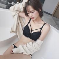 黑色小胸加厚款文胸套装性感镂空系带聚拢调整胸罩 橘色
