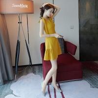 2018夏装新款女装收腰高腰鱼尾裙黄色v领无袖连衣裙宴会小礼服夏 黄色