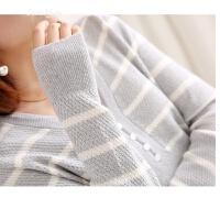 出众气质极简风格排扣点缀V领立体菠萝针条纹羊毛针织衫打底衫