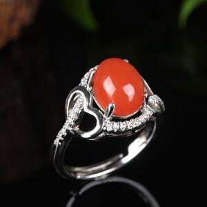 德仁恒宝  南红樱桃红精美S925银镶女士戒指