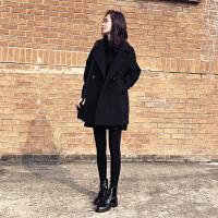 黑色毛呢外套2018冬装新款女装韩版宽松中长款显瘦羊毛呢大衣茧型 黑色