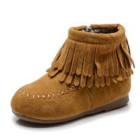 2018冬季新款韩版女童短靴流苏公主皮靴儿童低筒靴子加绒宝宝棉靴