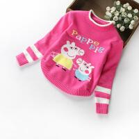 小童装女童装新款韩版儿童加绒毛衣女童针织羊绒衫套头宝宝上衣 佩奇玫红不加绒 现货发