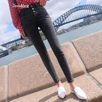 高腰牛仔裤女紧身韩版2018春装新款百搭显瘦小脚裤铅笔裤 灰黑色