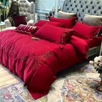 婚庆四件套欧式纯棉大红色全棉结婚房礼喜被床品刺绣1.8m床上用品